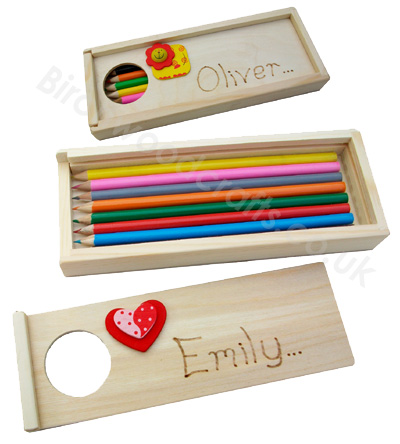 Children's / Kids Personalised Wooden pencil Case Box £4.99